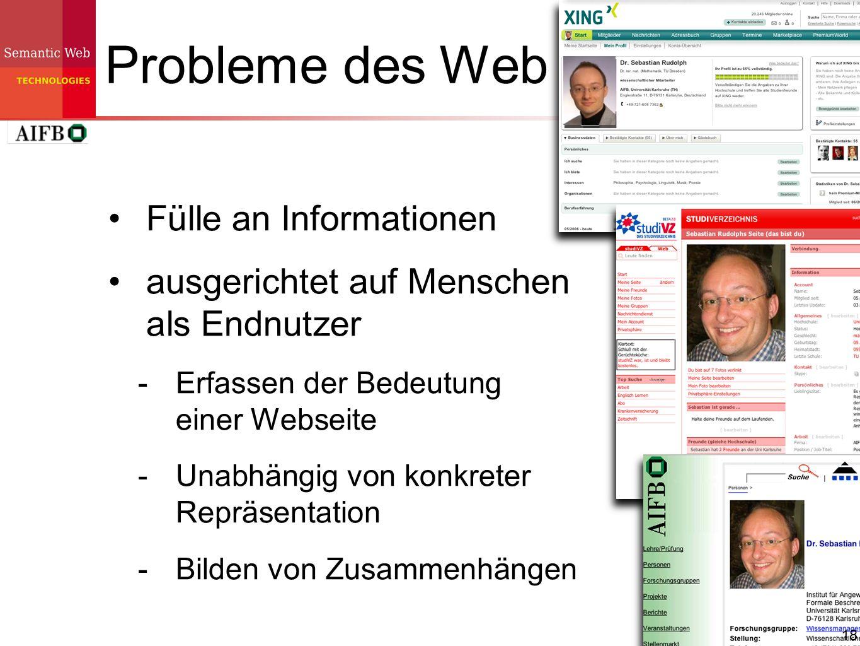 18 Probleme des Web Fülle an Informationen ausgerichtet auf Menschen als Endnutzer Erfassen der Bedeutung einer Webseite Unabhängig von konkreter Repr