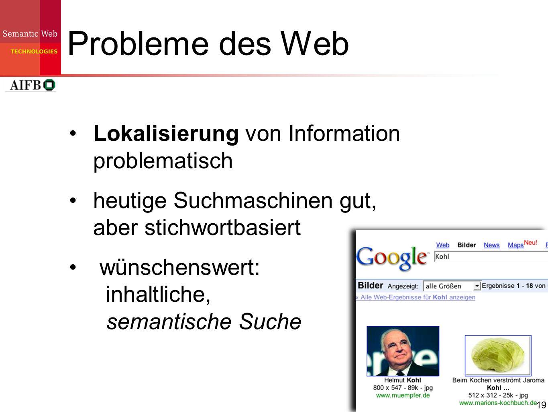 19 Probleme des Web Lokalisierung von Information problematisch heutige Suchmaschinen gut, aber stichwortbasiert wünschenswert: inhaltliche, semantisc
