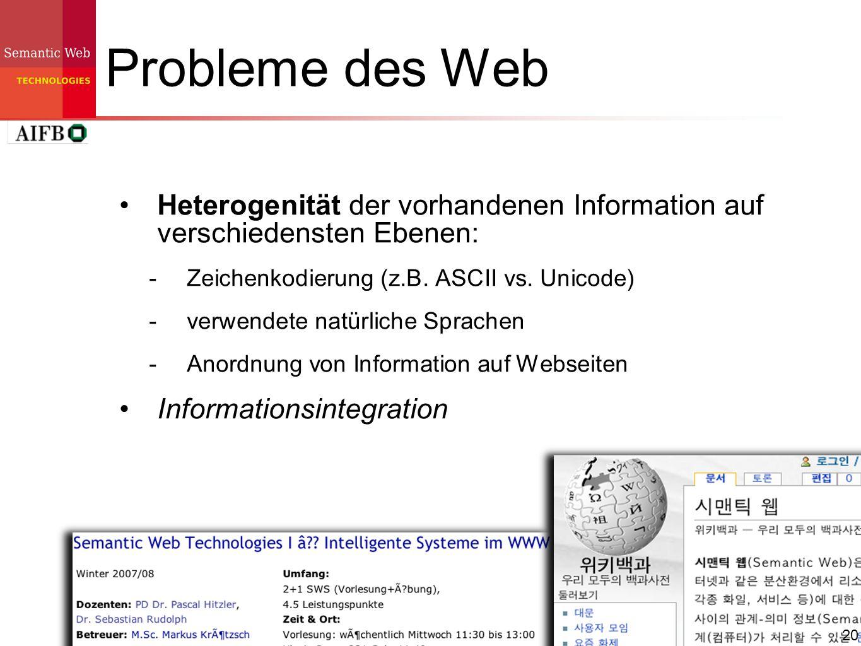 20 Probleme des Web Heterogenität der vorhandenen Information auf verschiedensten Ebenen: Zeichenkodierung (z.B. ASCII vs. Unicode) verwendete natürli