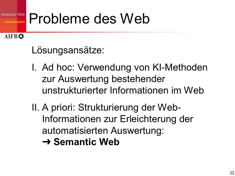 22 Probleme des Web Lösungsansätze: I. Ad hoc: Verwendung von KI-Methoden zur Auswertung bestehender unstrukturierter Informationen im Web II. A prior