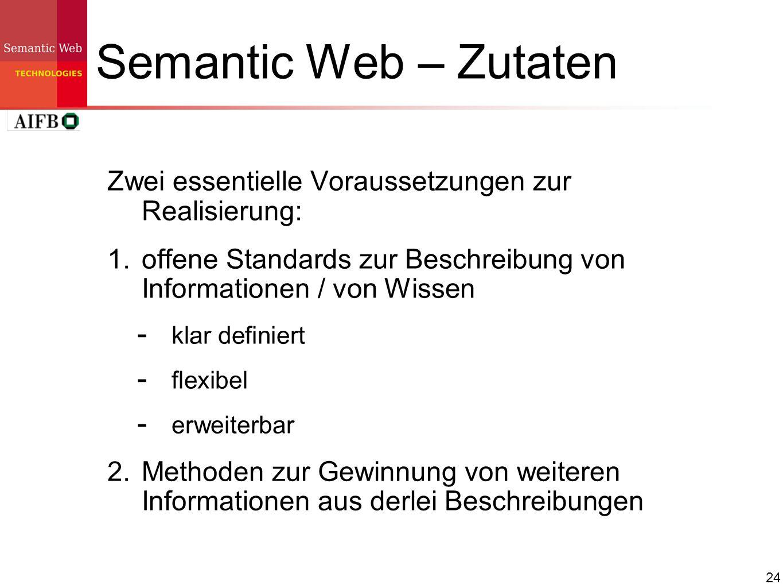 24 Semantic Web – Zutaten Zwei essentielle Voraussetzungen zur Realisierung: 1. offene Standards zur Beschreibung von Informationen / von Wissen klar