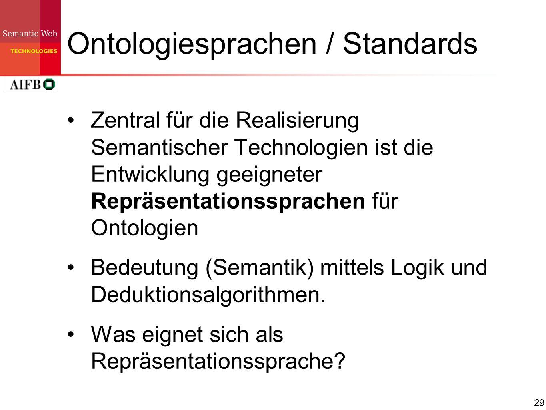 29 Ontologiesprachen / Standards Zentral für die Realisierung Semantischer Technologien ist die Entwicklung geeigneter Repräsentationssprachen für Ont
