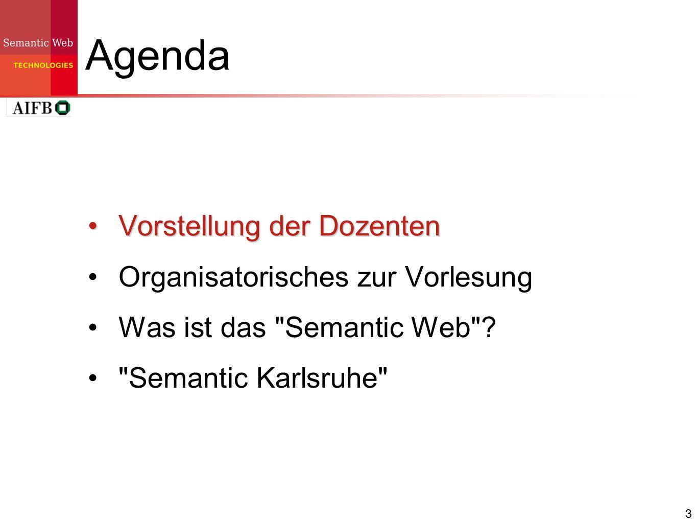 14 Agenda Vorstellung der Dozenten Organisatorisches zur Vorlesung Was ist das Semantic Web ?Was ist das Semantic Web .