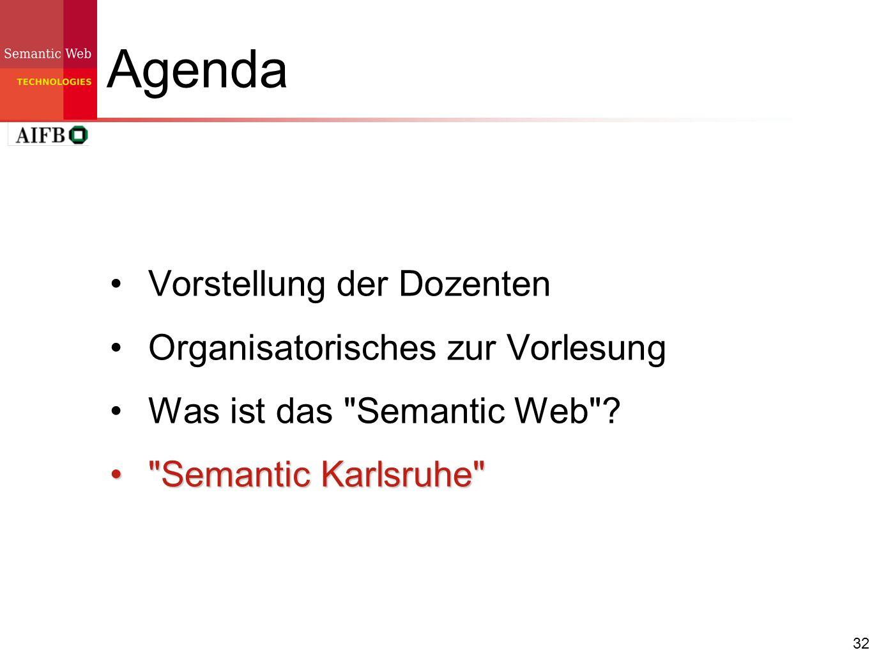 32 Agenda Vorstellung der Dozenten Organisatorisches zur Vorlesung Was ist das