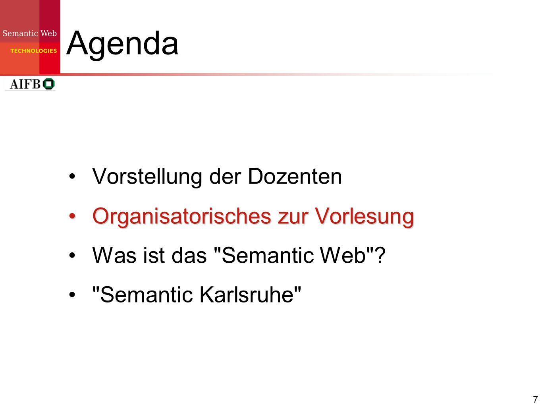 7 Agenda Vorstellung der Dozenten Organisatorisches zur VorlesungOrganisatorisches zur Vorlesung Was ist das
