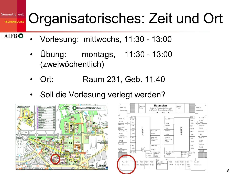 8 Organisatorisches: Zeit und Ort Vorlesung: mittwochs, 11:30 - 13:00 Übung: montags, 11:30 - 13:00 (zweiwöchentlich) Ort: Raum 231, Geb. 11.40 Soll d