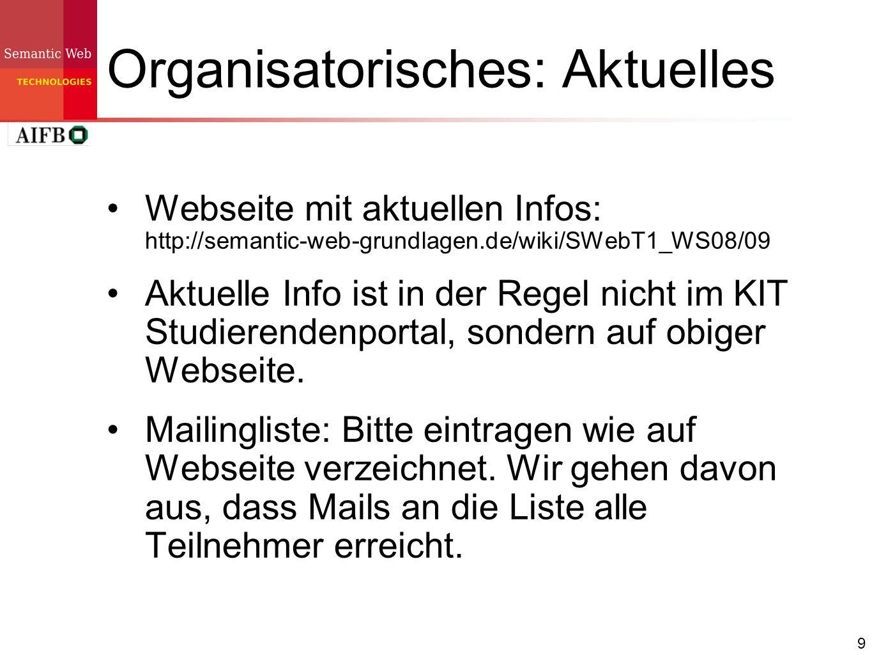 9 Organisatorisches: Aktuelles Webseite mit aktuellen Infos: http://semantic-web-grundlagen.de/wiki/SWebT1_WS08/09 Aktuelle Info ist in der Regel nich