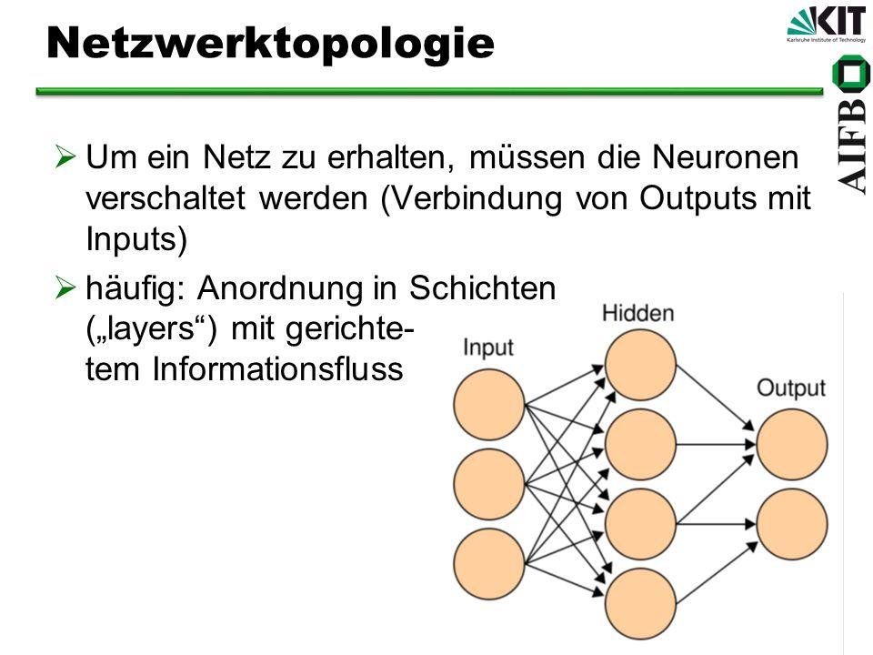 Netzwerktopologie Um ein Netz zu erhalten, müssen die Neuronen verschaltet werden (Verbindung von Outputs mit Inputs) häufig: Anordnung in Schichten (layers) mit gerichte- tem Informationsfluss