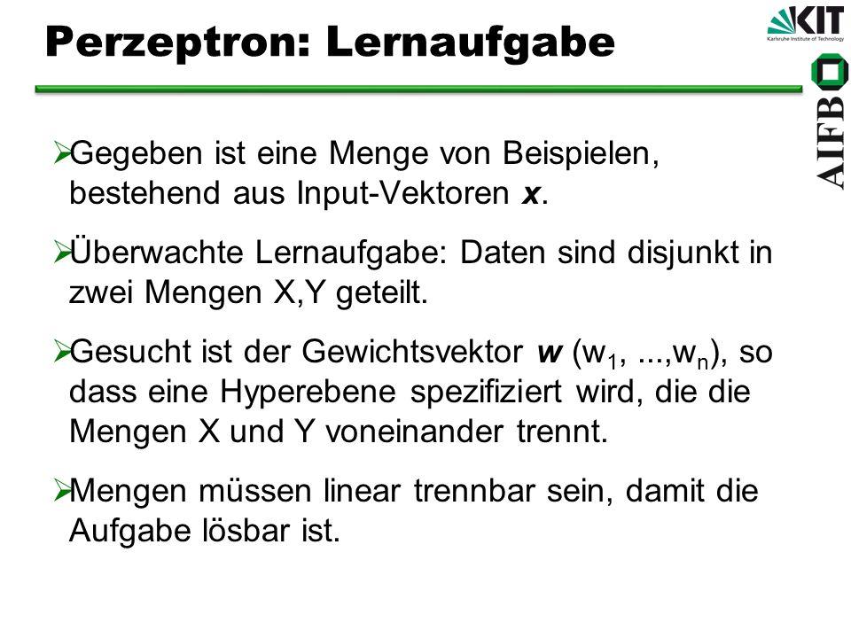 Perzeptron: Lernaufgabe Gegeben ist eine Menge von Beispielen, bestehend aus Input-Vektoren x. Überwachte Lernaufgabe: Daten sind disjunkt in zwei Men