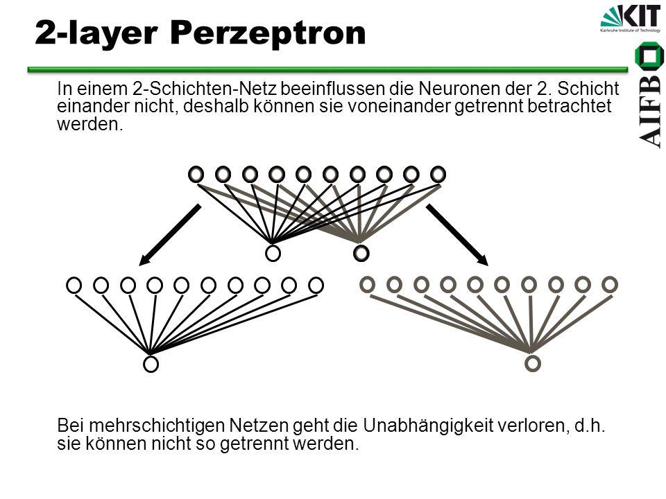 In einem 2-Schichten-Netz beeinflussen die Neuronen der 2. Schicht einander nicht, deshalb können sie voneinander getrennt betrachtet werden. Bei mehr