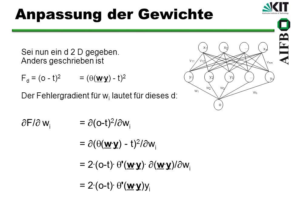 Sei nun ein d 2 D gegeben. Anders geschrieben ist F d = (o - t) 2 = ( (w. y) - t) 2 Der Fehlergradient für w i lautet für dieses d: F/ w i = (o-t) 2 /