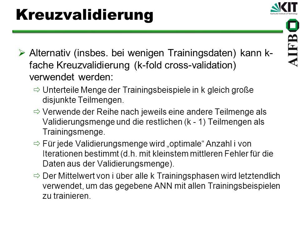 Kreuzvalidierung Alternativ (insbes.