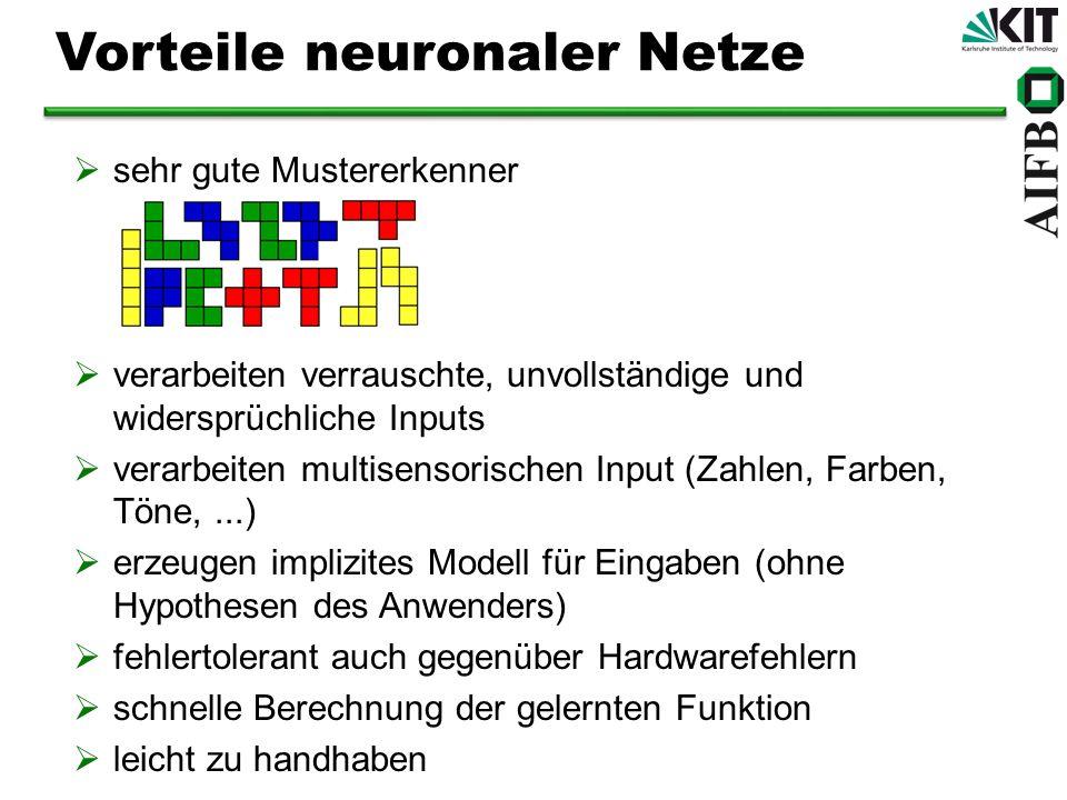 Vorteile neuronaler Netze sehr gute Mustererkenner verarbeiten verrauschte, unvollständige und widersprüchliche Inputs verarbeiten multisensorischen I