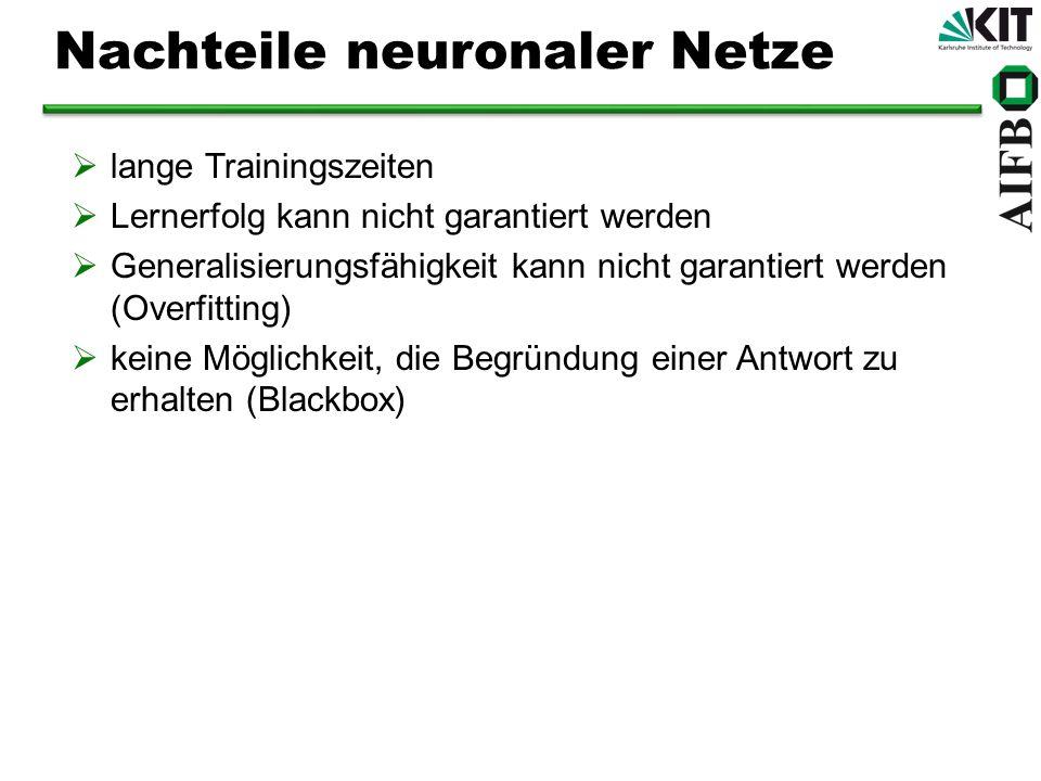 Nachteile neuronaler Netze lange Trainingszeiten Lernerfolg kann nicht garantiert werden Generalisierungsfähigkeit kann nicht garantiert werden (Overfitting) keine Möglichkeit, die Begründung einer Antwort zu erhalten (Blackbox)