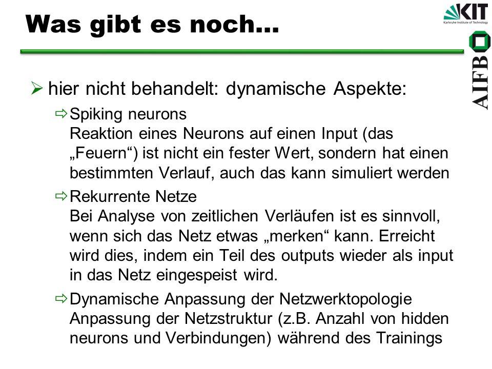 Was gibt es noch... hier nicht behandelt: dynamische Aspekte: Spiking neurons Reaktion eines Neurons auf einen Input (das Feuern) ist nicht ein fester