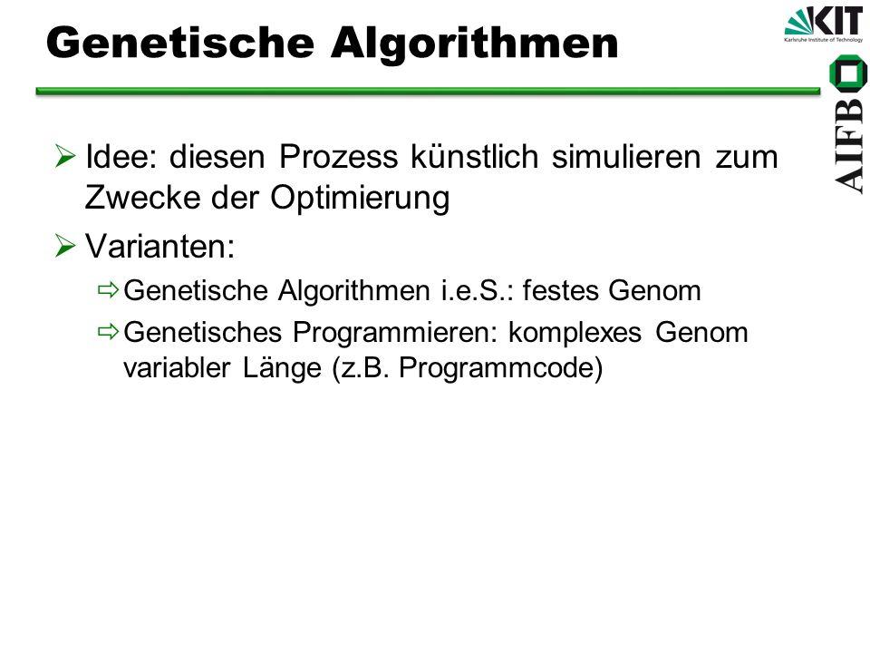 Genetische Algorithmen Idee: diesen Prozess künstlich simulieren zum Zwecke der Optimierung Varianten: Genetische Algorithmen i.e.S.: festes Genom Genetisches Programmieren: komplexes Genom variabler Länge (z.B.