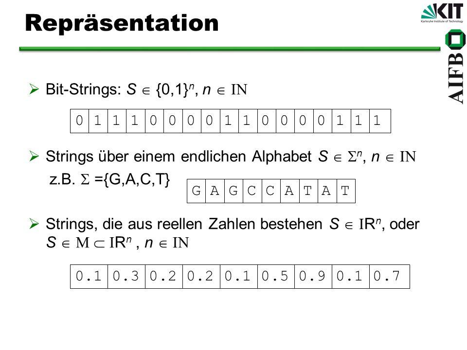 Repräsentation Bit-Strings: S {0,1} n, n Strings über einem endlichen Alphabet S n, n z.B. ={G,A,C,T} Strings, die aus reellen Zahlen bestehen S R n,