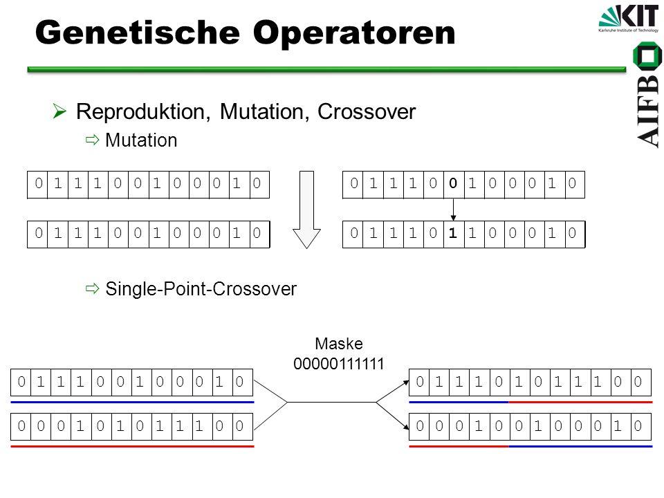 Genetische Operatoren Reproduktion, Mutation, Crossover Mutation Single-Point-Crossover 0 1 1 1 0 0 1 0 0 0 1 0 0 1 1 1 0 1 1 0 0 0 1 00 1 1 1 0 0 1 0