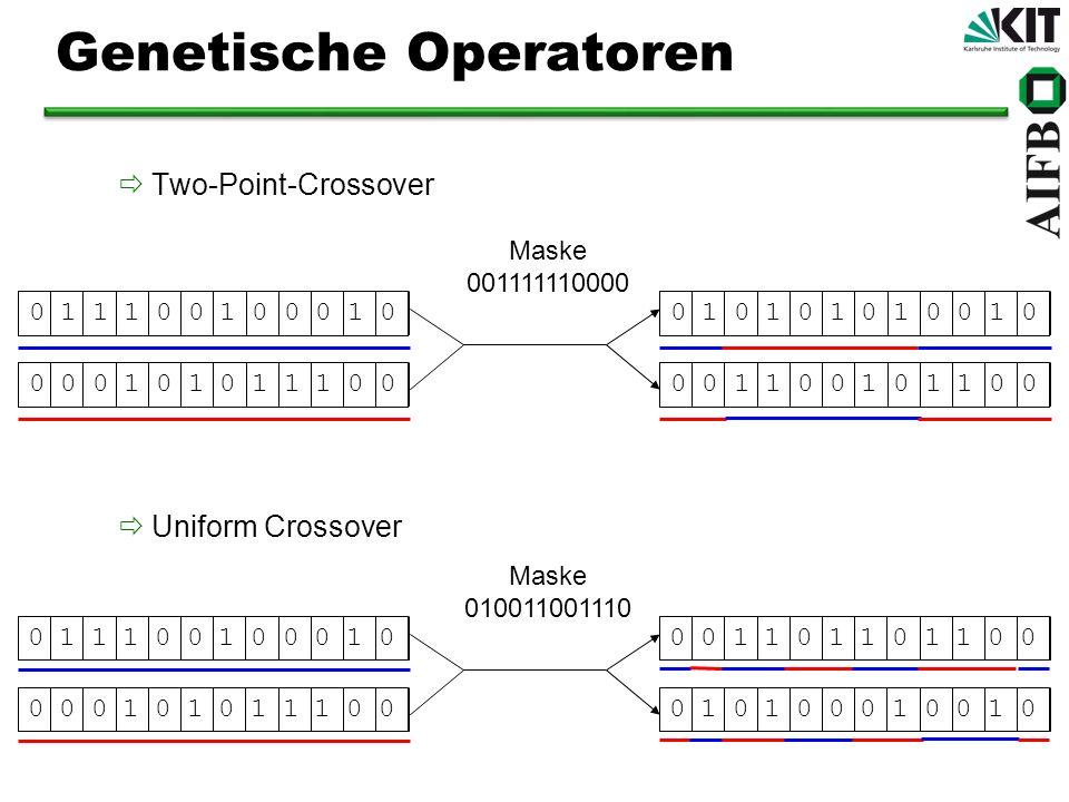Genetische Operatoren Two-Point-Crossover Uniform Crossover 0 1 1 1 0 0 1 0 0 0 1 00 0 0 1 0 1 0 1 1 1 0 00 1 0 1 0 1 0 1 0 0 1 00 0 1 1 0 0 1 0 1 1 0 0 Maske 001111110000 0 1 1 1 0 0 1 0 0 0 1 00 0 0 1 0 1 0 1 1 1 0 00 0 1 1 0 1 1 0 1 1 0 00 1 0 1 0 0 0 1 0 0 1 0 Maske 010011001110