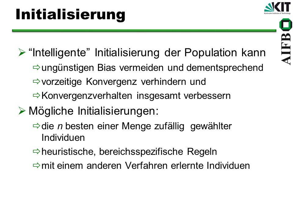 Initialisierung Intelligente Initialisierung der Population kann ungünstigen Bias vermeiden und dementsprechend vorzeitige Konvergenz verhindern und K