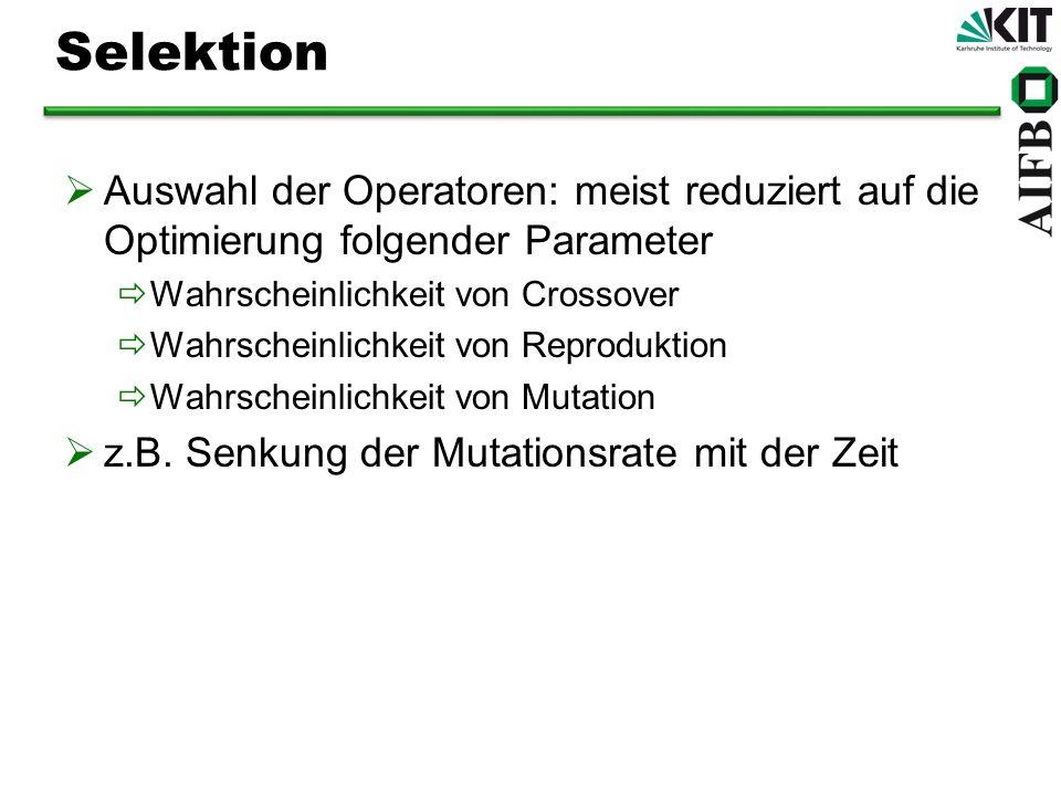 Selektion Auswahl der Operatoren: meist reduziert auf die Optimierung folgender Parameter Wahrscheinlichkeit von Crossover Wahrscheinlichkeit von Reproduktion Wahrscheinlichkeit von Mutation z.B.