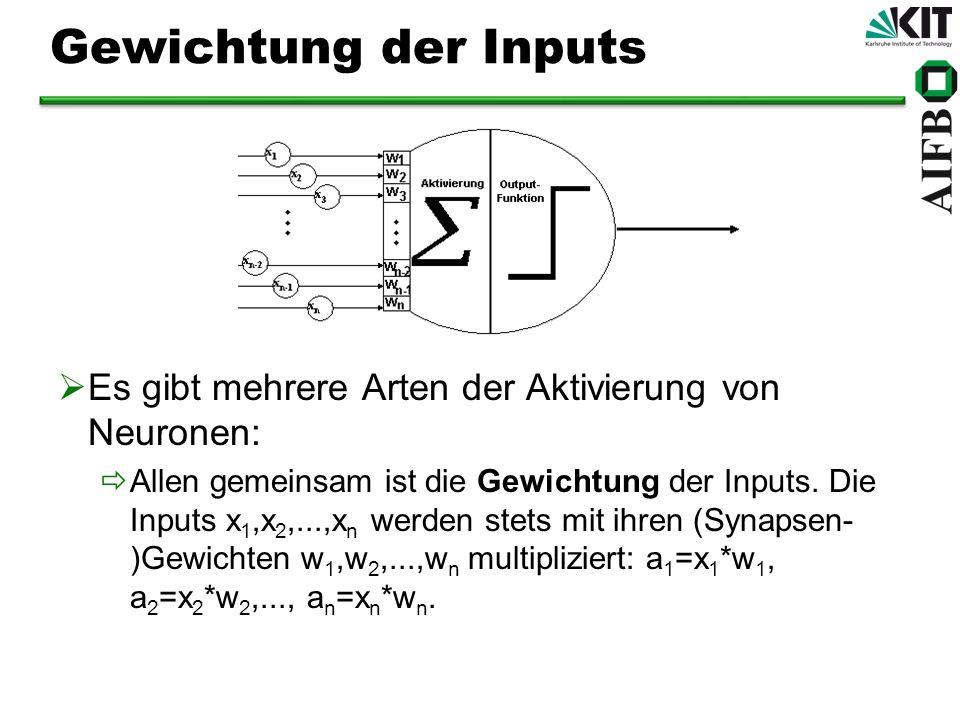 Akkumulation der Inputs Die am häufigsten angewandte Regel ist die Skalarprodukt-Regel: Die gewichteten Inputs a 1,a 2,...,a n werden zur Aktivität des Neurons aufaddiert: a = a 1 +a 2 +...+a n Sehr häufig ist ebenfalls die Winner-take-all-Regel: bei der die Aktivität a zunächst nach der Skalarproduktregel ermittelt wird, dann aber mit allen Aktivitäten in derselben Schicht verglichen wird und auf 0 herabgesetzt wird, wenn ein anderes Neuron höhere Aktivität hat.