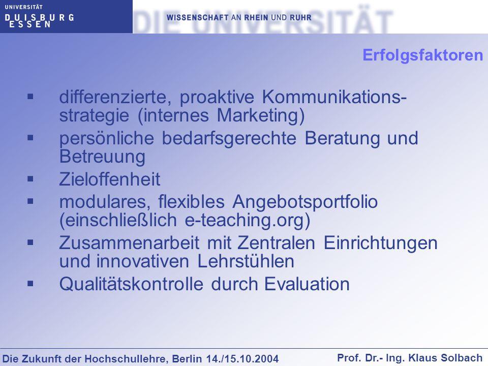 Die Zukunft der Hochschullehre, Berlin 14./15.10.2004 Prof. Dr.- Ing. Klaus Solbach Erfolgsfaktoren differenzierte, proaktive Kommunikations- strategi