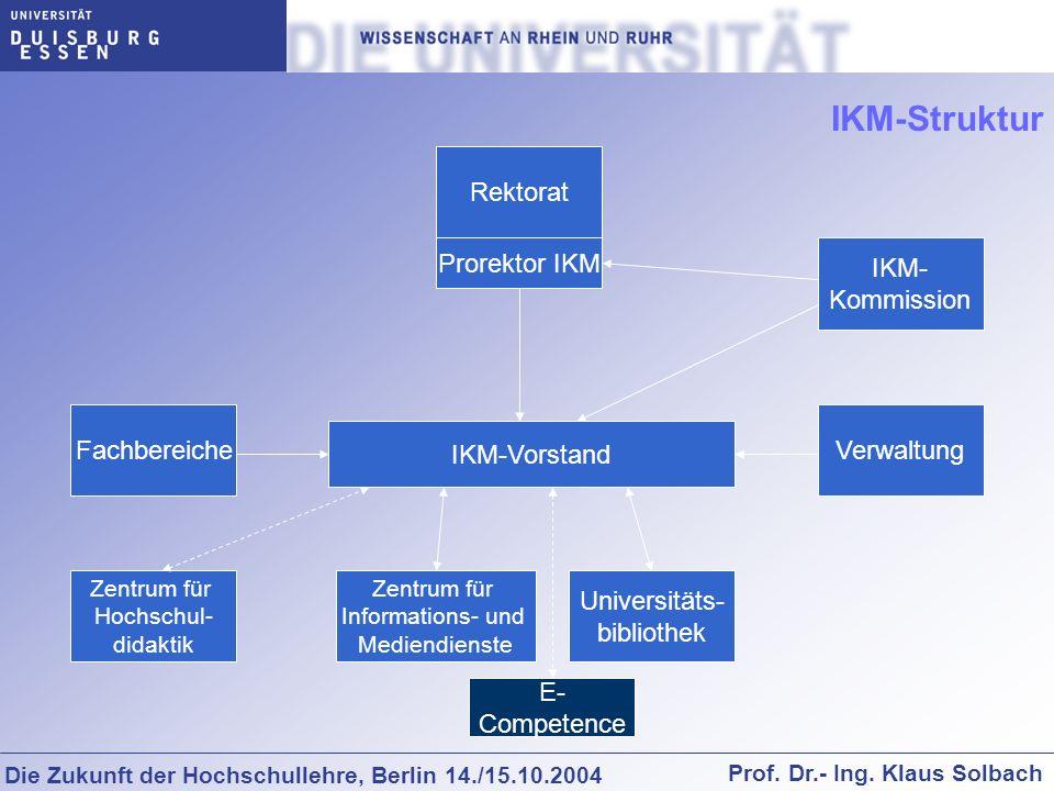 Die Zukunft der Hochschullehre, Berlin 14./15.10.2004 Prof. Dr.- Ing. Klaus Solbach Rektorat Fachbereiche Zentrum für Hochschul- didaktik Zentrum für