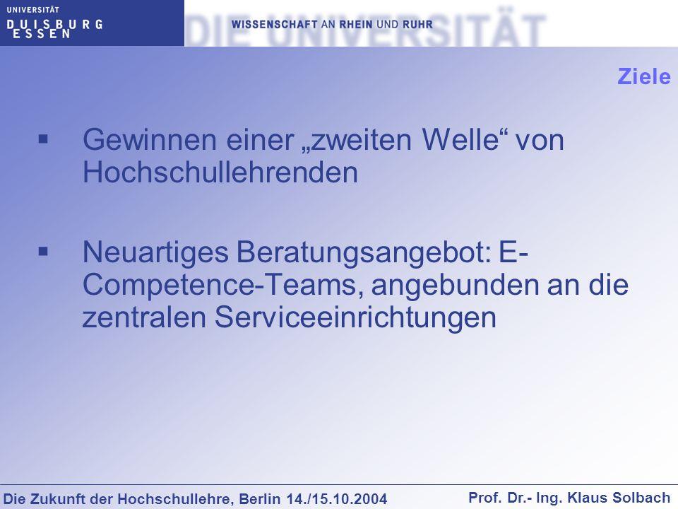 Die Zukunft der Hochschullehre, Berlin 14./15.10.2004 Prof. Dr.- Ing. Klaus Solbach Ziele Gewinnen einer zweiten Welle von Hochschullehrenden Neuartig
