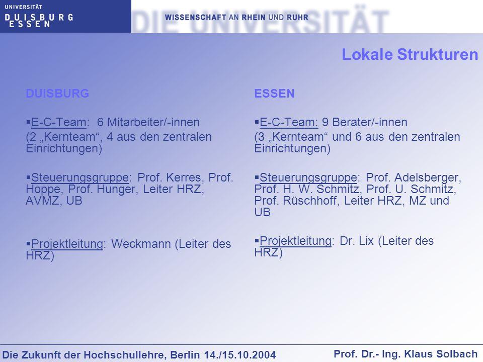 Die Zukunft der Hochschullehre, Berlin 14./15.10.2004 Prof. Dr.- Ing. Klaus Solbach Lokale Strukturen DUISBURG E-C-Team: 6 Mitarbeiter/-innen (2 Kernt