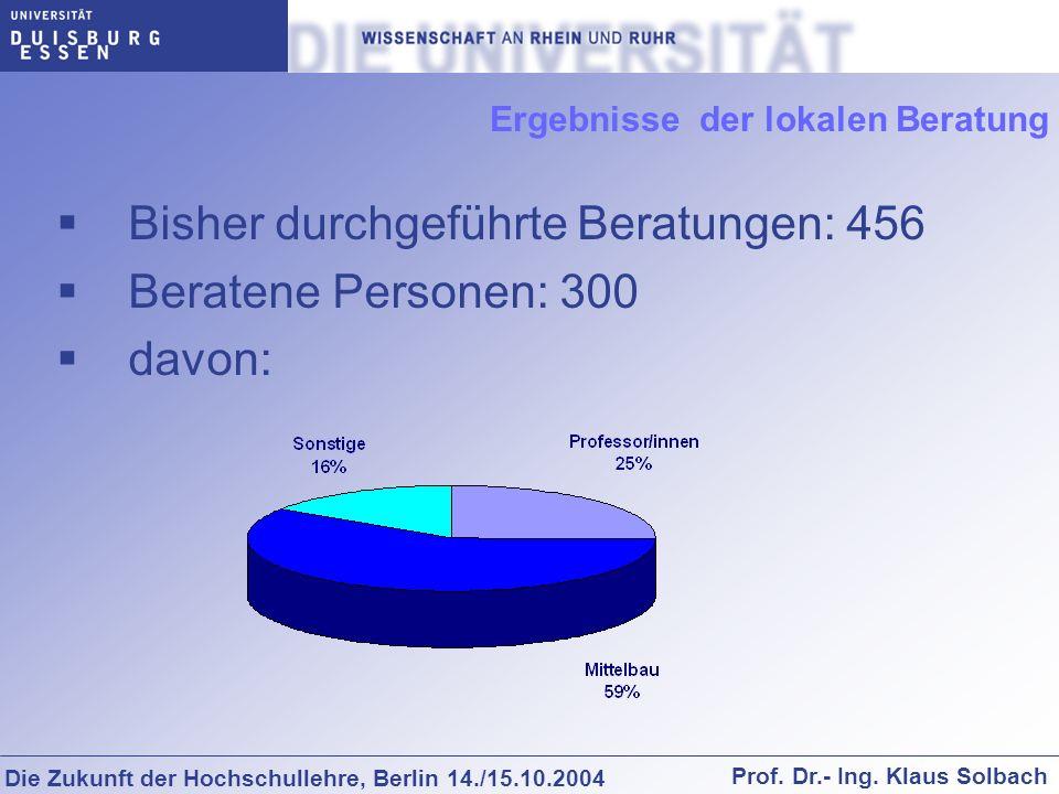 Die Zukunft der Hochschullehre, Berlin 14./15.10.2004 Prof. Dr.- Ing. Klaus Solbach Ergebnisse der lokalen Beratung Bisher durchgeführte Beratungen: 4