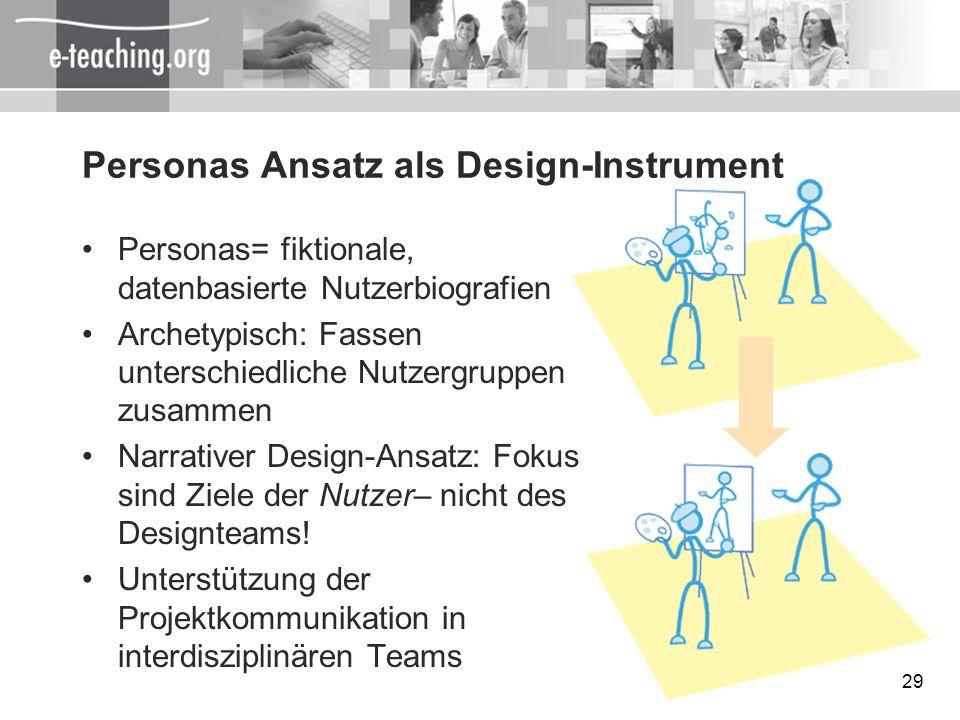 29 Personas Ansatz als Design-Instrument Personas= fiktionale, datenbasierte Nutzerbiografien Archetypisch: Fassen unterschiedliche Nutzergruppen zusa