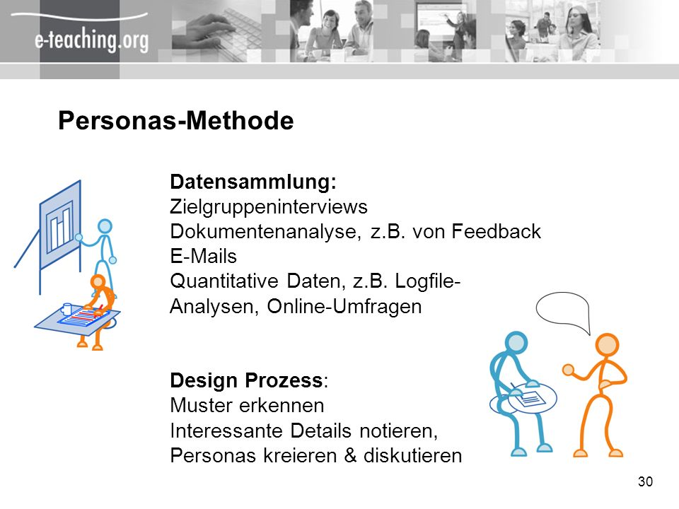 30 Personas-Methode Datensammlung: Zielgruppeninterviews Dokumentenanalyse, z.B. von Feedback E-Mails Quantitative Daten, z.B. Logfile- Analysen, Onli