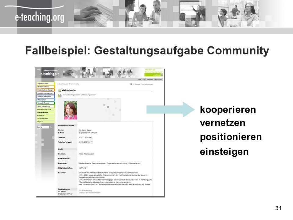 31 Fallbeispiel: Gestaltungsaufgabe Community kooperieren vernetzen positionieren einsteigen
