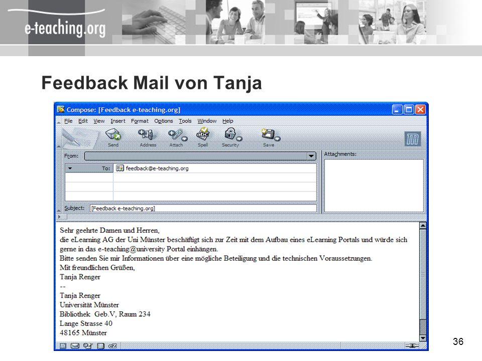 36 Feedback Mail von Tanja