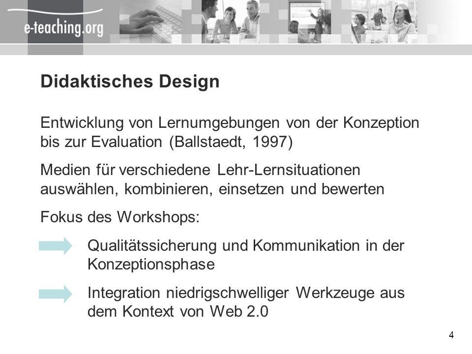 4 Didaktisches Design Entwicklung von Lernumgebungen von der Konzeption bis zur Evaluation (Ballstaedt, 1997) Medien für verschiedene Lehr-Lernsituati
