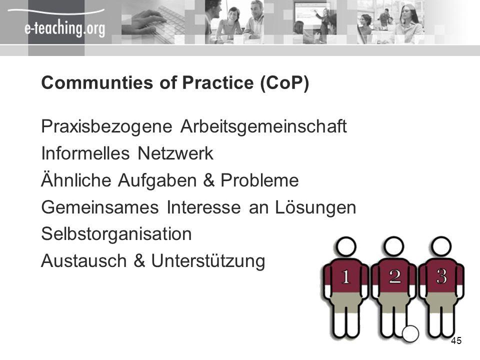 45 Communties of Practice (CoP) Praxisbezogene Arbeitsgemeinschaft Informelles Netzwerk Ähnliche Aufgaben & Probleme Gemeinsames Interesse an Lösungen