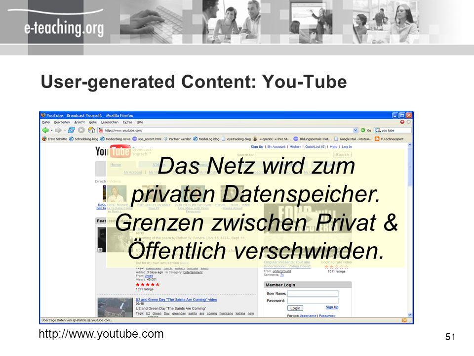 51 User-generated Content: You-Tube http://www.youtube.com Das Netz wird zum privaten Datenspeicher. Grenzen zwischen Privat & Öffentlich verschwinden