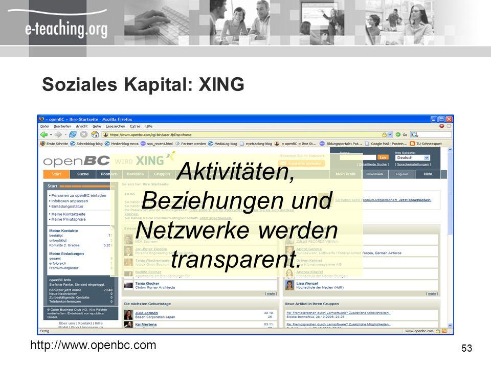 53 Soziales Kapital: XING Aktivitäten, Beziehungen und Netzwerke werden transparent. http://www.openbc.com