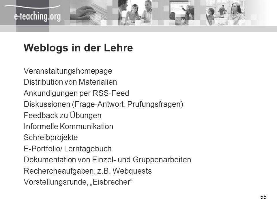 55 Weblogs in der Lehre Veranstaltungshomepage Distribution von Materialien Ankündigungen per RSS-Feed Diskussionen (Frage-Antwort, Prüfungsfragen) Fe