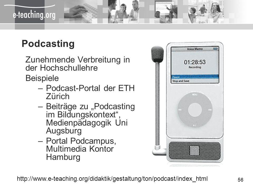 56 Podcasting Zunehmende Verbreitung in der Hochschullehre Beispiele –Podcast-Portal der ETH Zürich –Beiträge zu Podcasting im Bildungskontext, Medien
