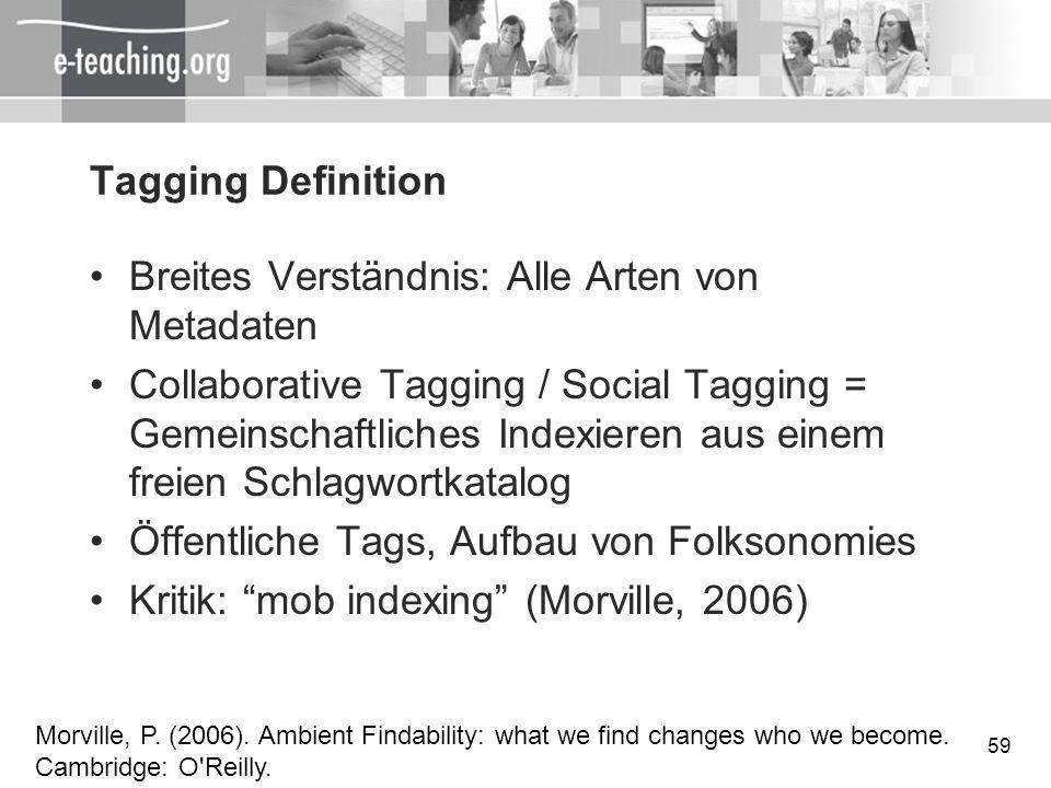 59 Tagging Definition Breites Verständnis: Alle Arten von Metadaten Collaborative Tagging / Social Tagging = Gemeinschaftliches Indexieren aus einem f