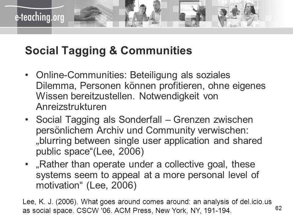 62 Social Tagging & Communities Online-Communities: Beteiligung als soziales Dilemma, Personen können profitieren, ohne eigenes Wissen bereitzustellen
