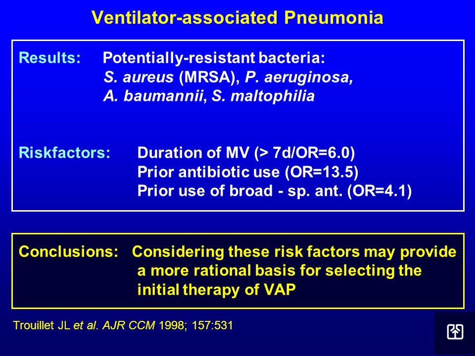 Ventilator-associated Pneumonia Results: Potentially-resistant bacteria: S. aureus (MRSA), P. aeruginosa, A. baumannii, S. maltophilia Riskfactors: Du