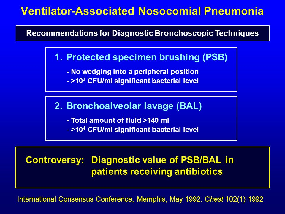 Ventilator-Associated Nosocomial Pneumonia 1. Protected specimen brushing (PSB) - No wedging into a peripheral position - >10 3 CFU/ml significant bac