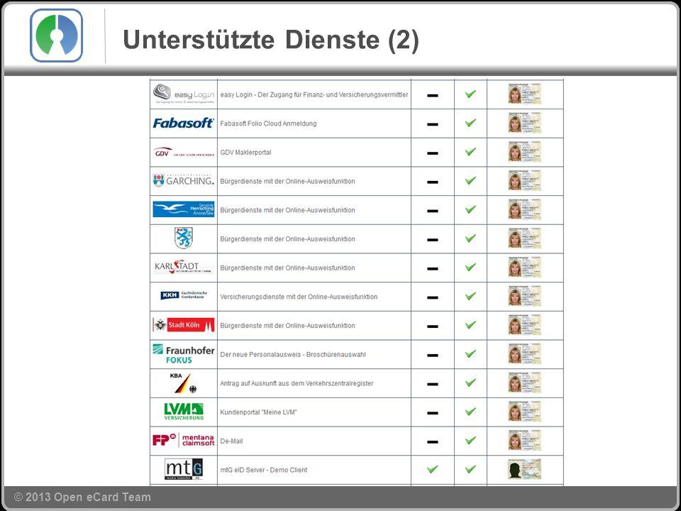 © 2013 Open eCard Team Unterstützte Dienste (2)