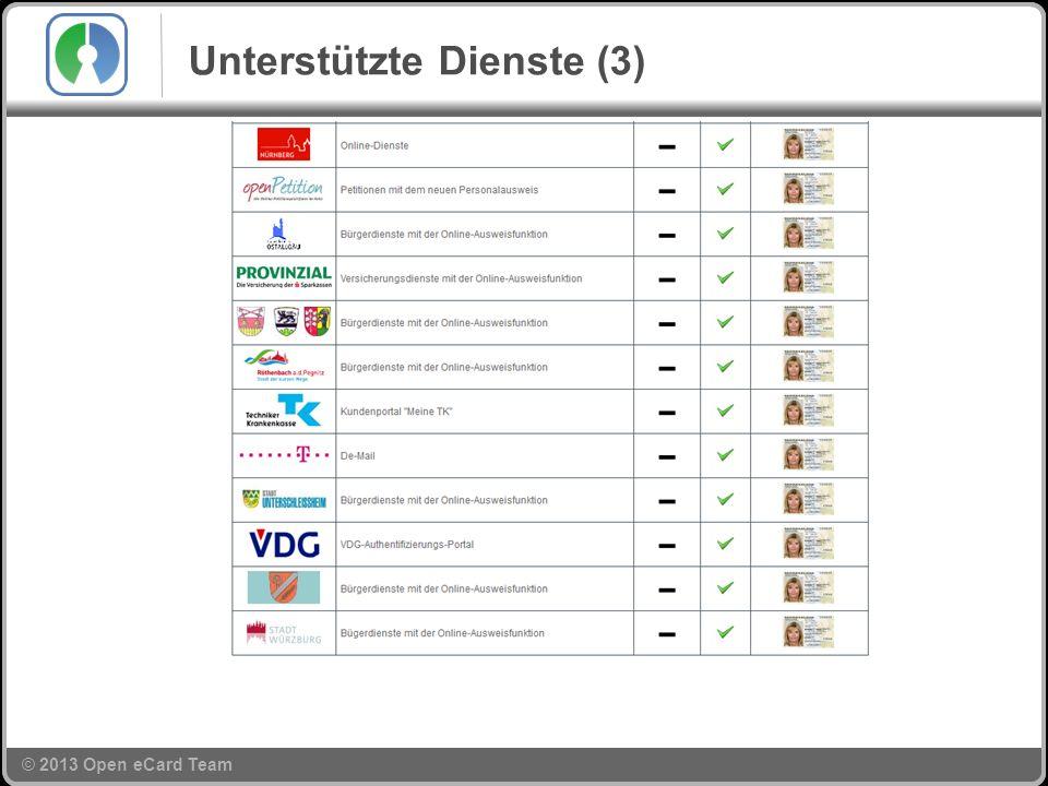 © 2013 Open eCard Team Unterstützte Dienste (3)