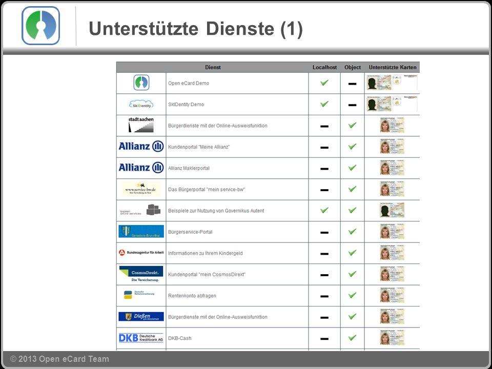 © 2013 Open eCard Team Unterstützte Dienste (1)