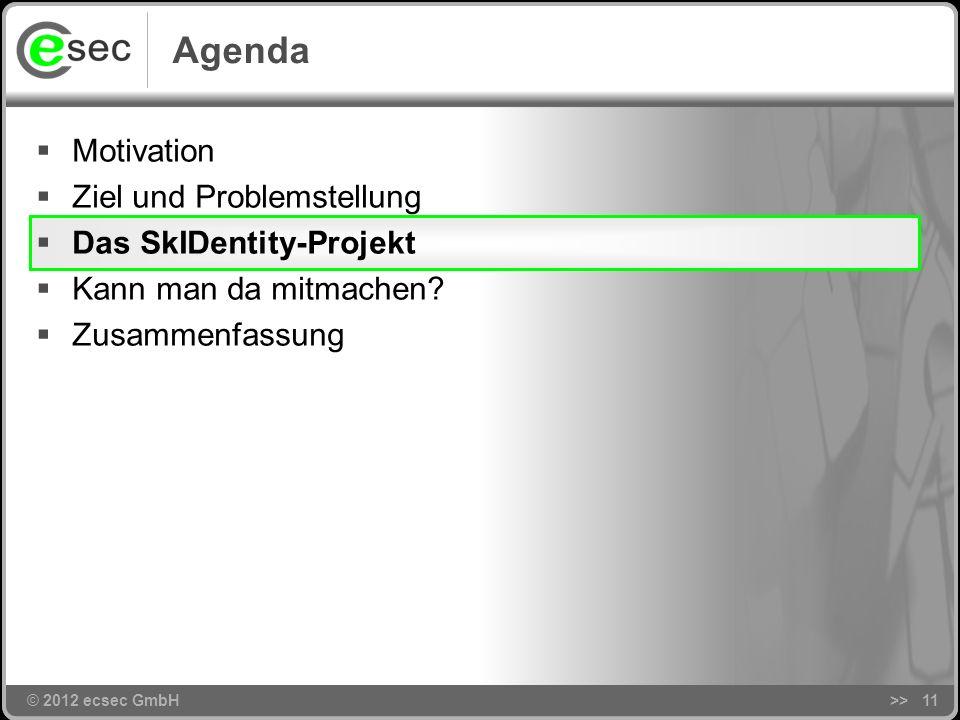 © 2012 ecsec GmbH Cloud ungeklärte Rechtsfragen Problemstellung >>10 eID-Services nur für nPA … nicht KMU-tauglich unklare Sicherheit unklare Geschäft