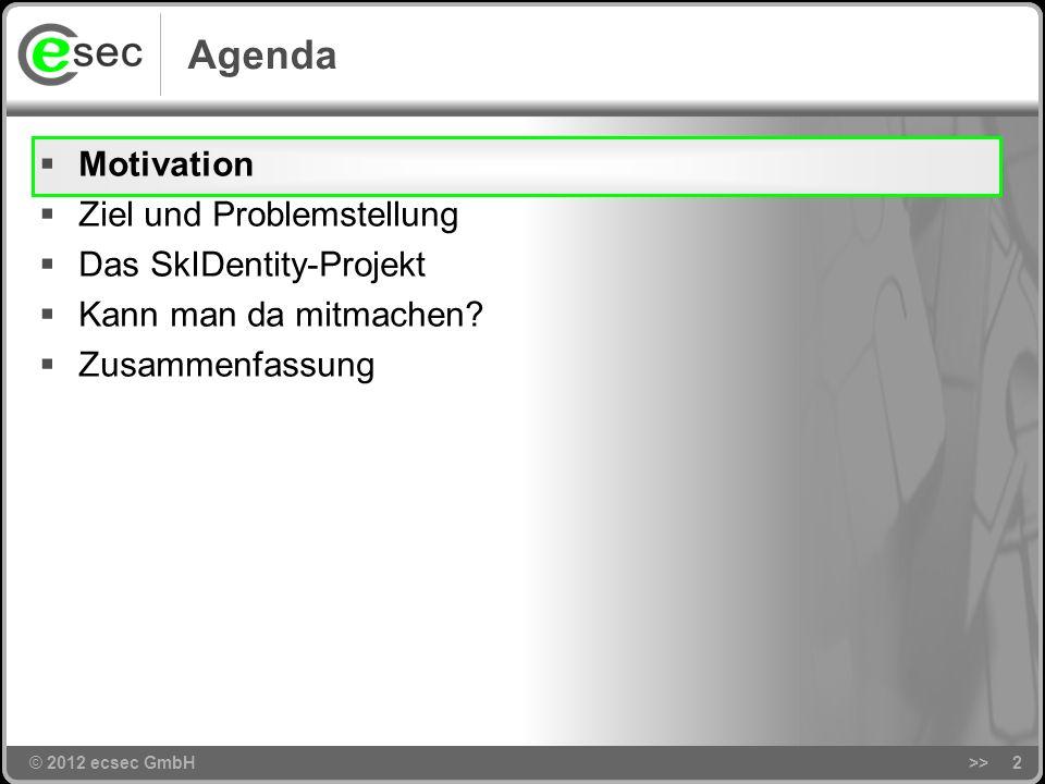 © 2012 ecsec GmbH>>2 Agenda © 2012 ecsec GmbH Motivation Ziel und Problemstellung Das SkIDentity-Projekt Kann man da mitmachen.